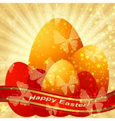 Easter greeting gold card vector image vector image