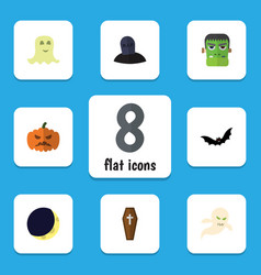 Flat icon halloween set of superstition spirit vector