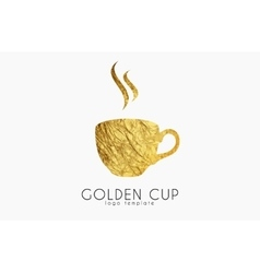 Golden tea cup golden cup coffee cup logo vector image
