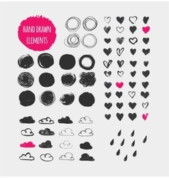 Hand drawn shapes icons elements and hearts vector image vector image