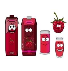 Healthy fresh raspberry juice cartoon characters vector image vector image
