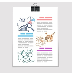 Infographics elements sketch on old sheet of paper vector image