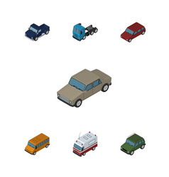Isometric car set of auto first-aid truck and vector