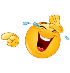 laughing with tears and pointing emoticon vector image
