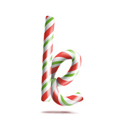 letter k 3d realistic candy cane alphabet vector image