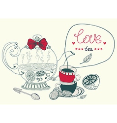 love lemon tea card vector image vector image
