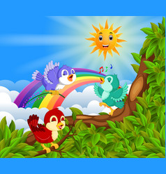 Many bird on the tree branch with rainbow scene vector