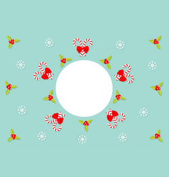 merry christmas holly berry icon mistletoe candy vector image