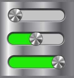 Metal interface slider green bar with round vector