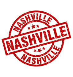 Nashville red round grunge stamp vector