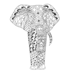 Patterned elephant zentangle inspired style vector image