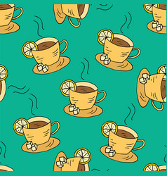 Seamless pattern with cups of tea and lemon vector
