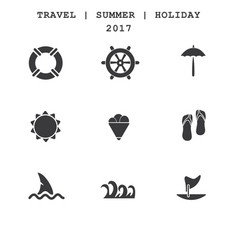 Set of travel icons summer vacations vector