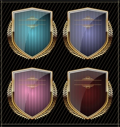 Shields with laurel wreaths vector image vector image