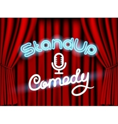 stand up comedy red curtain vector image