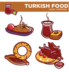 Turkish food collection with delicious hot vector