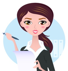 Young business woman with pen isolated on white vector image