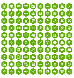 100 time icons hexagon green vector image vector image