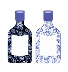 Russian vodka bottle painted gzhel national folk vector