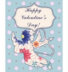 Happy Valentine Day card with Cupid vintage vector image