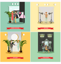 Set of podium concept posters in flat style vector