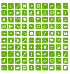 100 compass icons set grunge green vector