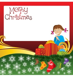 2012 christmas card with girl gifts and socks vector image