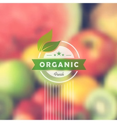 Organic food retro label blurred background vector