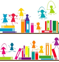 Cartoon children playing on book shelves vector
