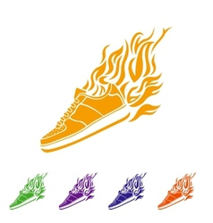 With silhouette of running shoe icon background vector
