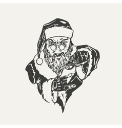 Crime santa claus black and white vector