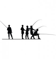 women in fishing vector image