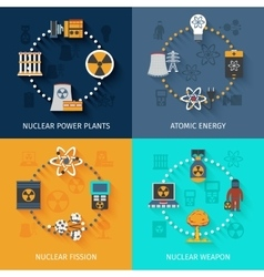 Nuclear energy 4 flat icons composition vector