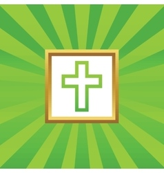 Christian cross picture icon vector