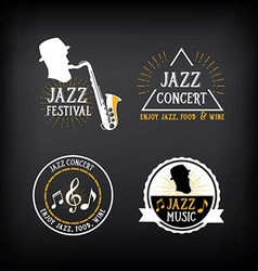 Jazz music party logo and badge design vector image