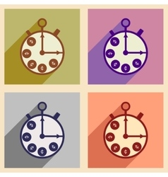 Flat with shadow concept icon stopwatch and coins vector