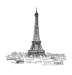 Pariscityscape with eifel tower sketch for your vector