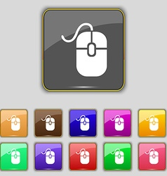 Computer mouse icon sign set with eleven colored vector