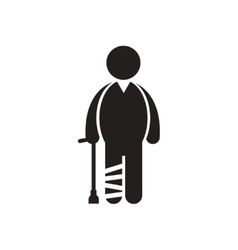 Stylish black and white icon person with broken vector