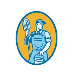 Cleaner with mop and pail vector