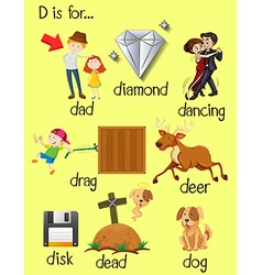 Letter d and different words for it vector