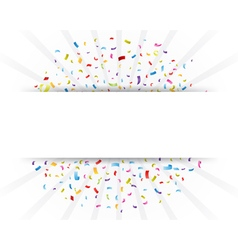 Celebration confetti with paper sign vector