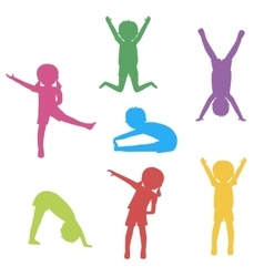 Kids exercising silhouette vector