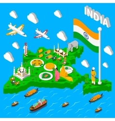 India map touristic isometric poster vector