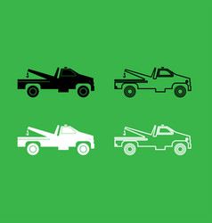 breakdown truck icon black and white color set vector image vector image