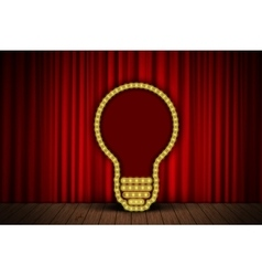 Bulb on stage curtain vector