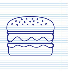 Burger simple sign navy line icon on vector