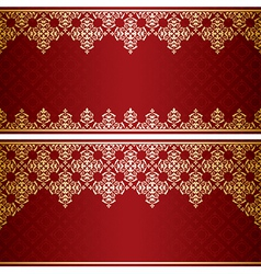 dark red card with gold vintage ornament vector image