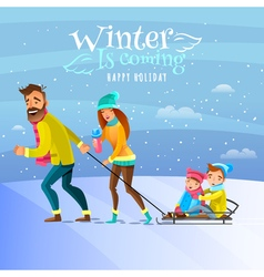 Family In Winter Season vector image vector image