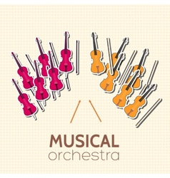 flat violin guitar background concept vector image vector image
